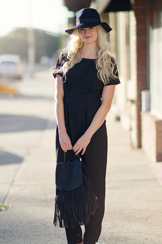 black flattering jumpsuit